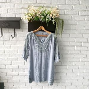 Monoreno 3/4 Sleeve Rust Blue Crotchet Dress